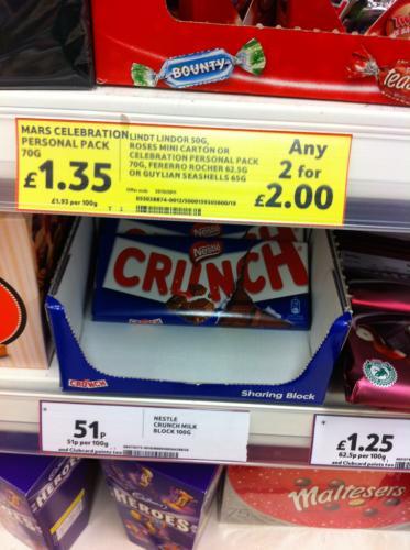 Nestle crunch large bar 0.51p instore @tesco
