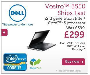 Dell Vostro 3550, i3-2330M, 2GB memory, 250GB hard disk, £382 inc P&P @Dell