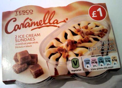 Tesco Caramella Ice Cream Sundaes (280ml) 25p (Bury)