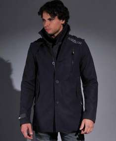 New Mens Superdry Jermyn Pea Street Trench Jacket  - green or navy £49.99 @ ebay store