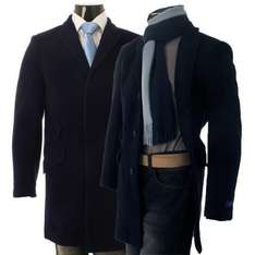 Mens Navy or Black Harry Brown Wool Blend Mid Length Overcoat - £54.99 Delivered @ Ebay / baronjon_outlet