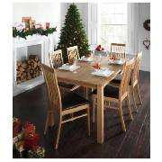 HALF PRICE : Hereford Fixed Table Solid Oak with 6 Brown Faux Leather Slat Back Chairs £399.50 @ Tesco Direct