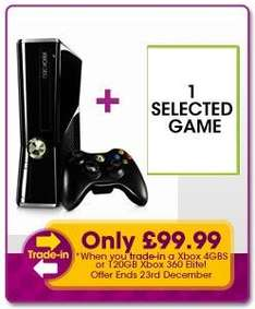 Xbox 360 Slim Console 250GB + Game for £99.99 (Trade in deal) @ Game (Instore)