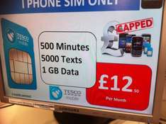 TESCO SIM ONLY MOBILE PHONE TARIFF AWESOME DEAL 500m, 5000t and 1gb - £12.50 (3mths)