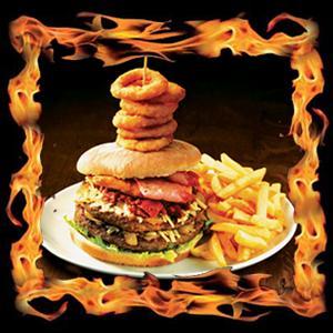 The Flaming Challenge Burger - 1Kilogram of meat £8.99