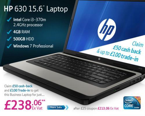 "HP 630 15.6"" Laptop (i3 370M 2.4 GHz, 4GB RAM, 500GB HDD) -  £150 trade-in & cashback + £25 off Voucher @ BT Business - (£188.06 Ex Vat)  £260.67 Inc Vat"