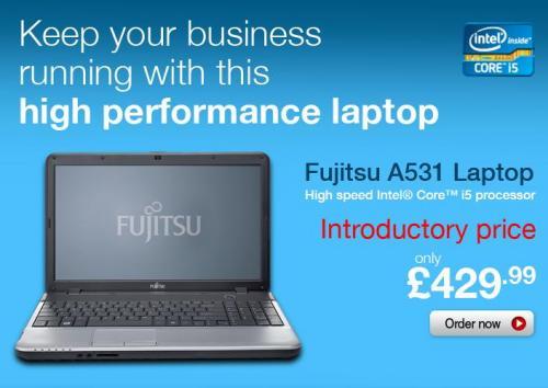 Fujitsu A531 laptop: Intel Core i5-2450M (2nd Gen), 750GB HDD, 6GB RAM. Only £430 @ Staples