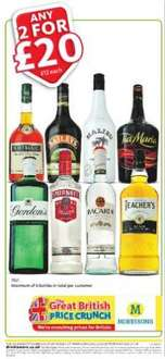 Selected 70cl Spirits 2 for £20 @ Morrisons