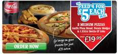 Dominos Feed Four for £5 Each - 2 x Medium Pizzas, 1 x Garlic Pizza Bread, 1 x Potato Wedges plus 1 x bottle of 1.25L Coca Cola for only £19.99