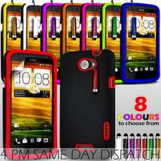 HYBRID SILICONE SKIN CASE COVER, FILM AND STYLUS PEN FOR HTC ONE X (8 Colors available) - ebay (g5online) - £1.49 delivered