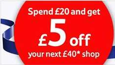 Tesco - Spend £20 and get £5 off your next £40 shop online or in store