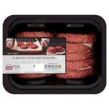 10 Tesco Finest Beef Steak Burgers 850g £3