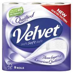 9 Rolls Velvet Quilted Toilet Tissue @ Co-op  £2.50 with coupon