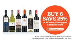 25% off any 6 Bottles of Wine, Champagne and Fortified Wine ... Online & Instore - Sainsburys