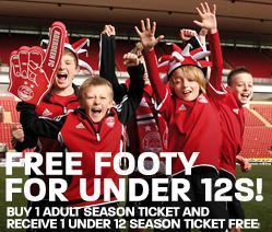 Buy an adult season ticket and get under 12 season ticket free @ ABERDEEN FC