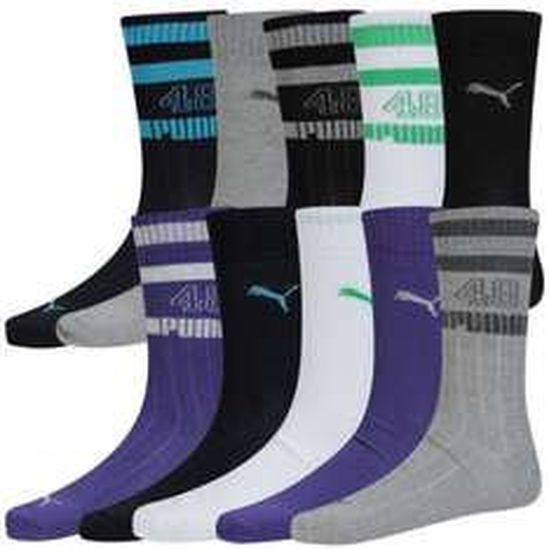 Men's Puma Socks (10 Pairs) - Black/Grey/Navy/White/Purple - £9.99 @ eBay / The Hut Outlet