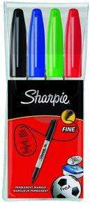 Sharpie Fine Markers Assorted Colours - 4 Pack for £1.98 Delivered@ Ebuyer