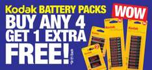 Buy 4, Get 1 Extra Free on Kodak Batteries @ PoundLand - £4