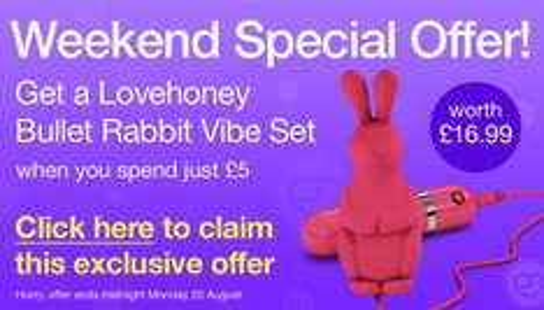 Spend £5 get a Bullet Rabbit Vibrator worth £16.99 @ Lovehoney.co.uk