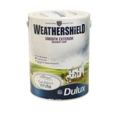 ASDA 2.5L Dulux Weathershield White Masonry Paint (2 X 2.5L) 5 LITRES For Only £15