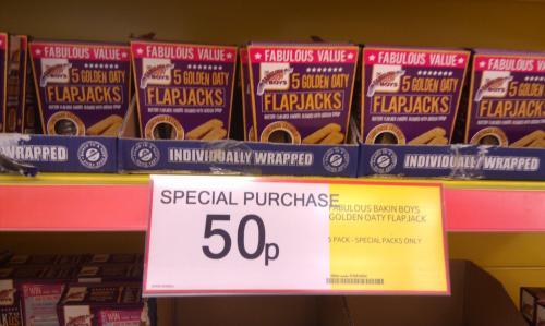 Fabulous bakin' Boys 6 Golden Oaty Flapjack Fingers only 50p @ Tesco in-store only