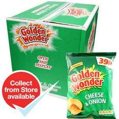 Golden Wonder: Cheese and Onion (Case of 48 Packs) Each pack price marked at 39p Equivalent price: 13p Each pack: (34.5g) ONLY £6.00 @ Home Bargains