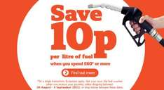 Save 10p per litre of fuel when you spend £60 or more @ Sainsbury's