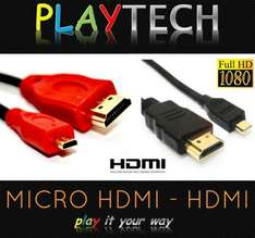 3 Metre MICRO HDMI D to HDMI A (playbook) £2.49 Delivered PLAYTECH_LTD @ Ebay