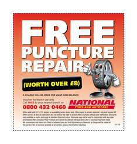 free puncture repair kit worth £8 @ national tyres