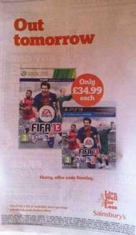 Fifa 13 PS3/360 £34.99 - No trade ins or min spend - Sainsburys in store.