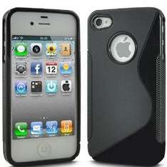 Apple iPhone 4 4S Solid Black S Line Wave Gel Skin Case Cover + LCD Screen Protector Guard 99p @ Amazon/KC Electronics
