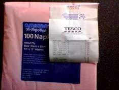100 x 2ply pink napkins instore at Tesco for 35p