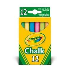Crayola - Pack of 12 Anti Dust Assorted Coloured Chalk 83p del @ Amazon