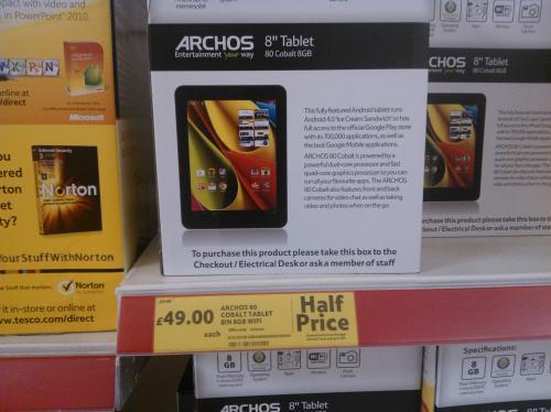 "Archos 80 Cobalt Tablet (8"", 8GB, Wifi) - Tesco Instore and online - £49 Half Price"