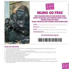 Bristol zoo free entry for mums on Mothers day when accompanied by full paying adult/child