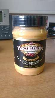Baconnaise (bacon flavoured mayo) £3.50 in Tesco