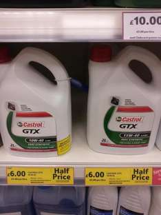 HALF PRICE Castrol  Engine Oil 2Litres for PETROL or DIESEL 10w/40-15w/40 ONLY £6 @ Tesco Instore / Petrol Station (MAGNATEC is £9)