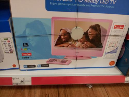 "Polaroid 15.6"" LED Pink TV £30 instore @ Asda"
