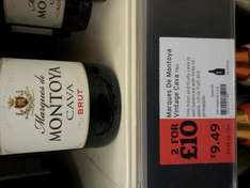 Montoya Cava Brut  £9.49 each or 2 for £10 @ Sainsburys