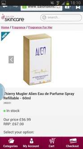 alien perfume £56.99 60ml free shipping refillable @ Salon Skincare