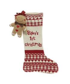 Baby's first Christmas knitted stocking with gingerbread man rattle £5.99 @Mothercare Free store collection