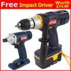 Ryobi 18V Combi Drill with Free Impact Driver, £99.99 Delivered