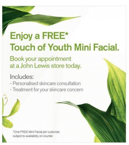 Enjoy a free Origins 'Touch of Youth' mini facial @ John Lewis! :)