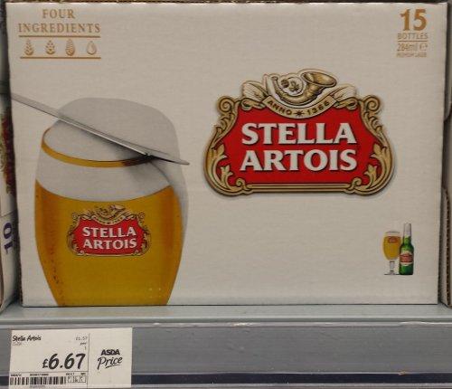BEER - Asda (Scotland) - 15 Stella, 12 Tennents, 12 Miller or 15 Bud. £6.67 each