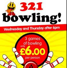 Bowling 3 games £6 @ Namco Funscape
