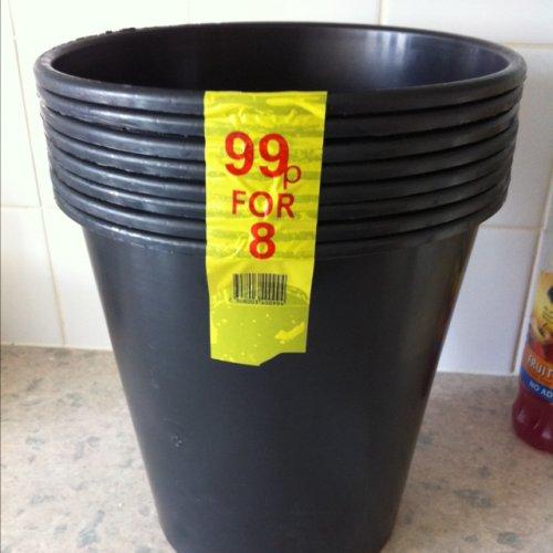 8 plastic plant pots (30cm deep & 20cm diameter)   for 99p @ Morrisons