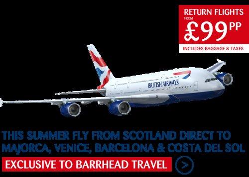 Barrheadtravel £99 return flights from Glasgow/Aberdeen
