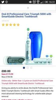 Oral B professional care triumph electric toothbrush - £80 @ Boots