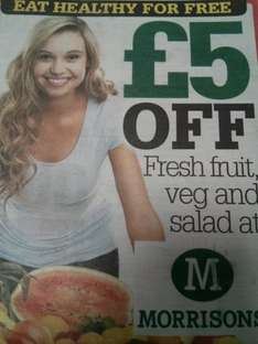 £5 off fresh fruit, veg and salad at Morrisons with today's Scottish Daily Record. No minimum spend!