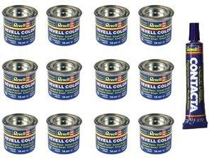 Revell Enamel Model Paints 12 Tins and Tube of Contacta Glue £15.75 @ GizzmoHeaven